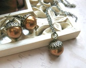 Acorn necklace set, earrings - copper Swarovski pearls, gift under 35,  nature jewelry