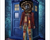 "Dr. Howler-  11"" x14"" Whimsical Monkey as Dr. Who Art Print- Monkey Wall Decor- Dr. Who Parody Art"