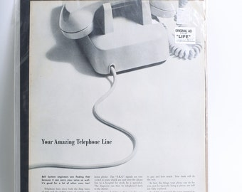 Vitnage 1965 Original Advertisement of Bell System Telephone Line from LIFE Magazine