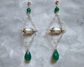 Green Onyx Earrings with Freshwater Pearls in Silver
