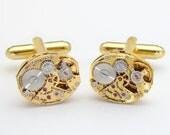 Steampunk Cufflinks Vintage Rare Jules Jurgensen Gold Watch Movements ideal Wedding or Anniversary Gift, Grooms Cuff Links, Mens Jewelry
