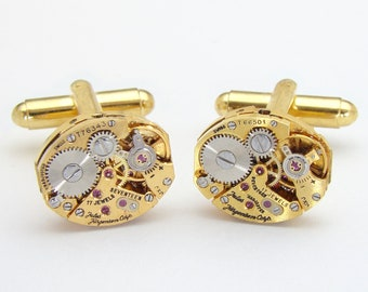 Steampunk Cufflinks Vintage Rare Jules Jurgensen Gold Watch Movements ideal Wedding or Anniversary Gift, Grooms Cuff Links, Mens Jewelry