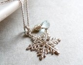 Snowflake Necklace, Blue Topaz Teardrop Gemstone, December Birthstone, Winter Jewelry, Sterling Silver Holiday Jewelry - karinagracejewelry