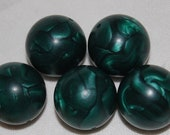 Vintage Lucite Beads, Gorgeous Large Spheres, Slightly Glossy, Satiny Pearlescent, Abstract Swirls,Emerald Green, 22mm, One Pair, A4-3