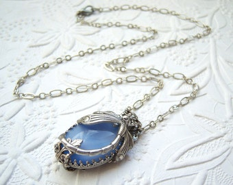 Antiqued  silver plated dragonfly and vintage glass blue moonstone necklace - CB649