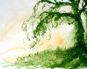 Greenery Tree Watercolor Absinthe Fairy Tree Watercolour in Sap Green 11x14 giclee print