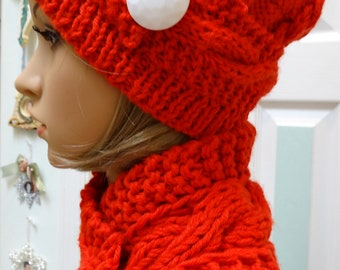 Hat and Scarf  set, Bright Reddish Orange Scarflette/ Headband, hand knitted , bulky worsted weight yarn ,in a cable stitch pattern