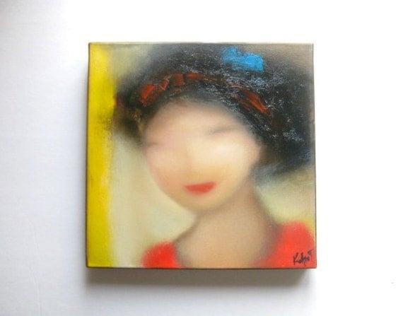 "Oil on canvas original painting, portrait painting, 12x12"", Japanice Lady Portrait, original oil on canvas painting"