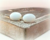 White Cufflinks - Mens White Opal Cufflinks - DesignedByAudrey