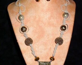 Hemp Necklace K1 Square Gold