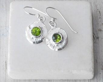 Peridot Earrings, Sterling Silver Earring, Minimalist Dainty Earring, August Birthstone, Peridot Jewelry, Small Round Dangle Earrings