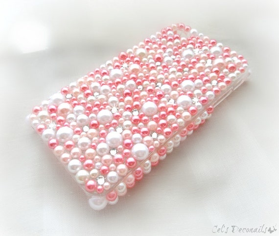 Pink Pearl kawaii decoden phone case, iPhone rhinestone phone case, smartphone case