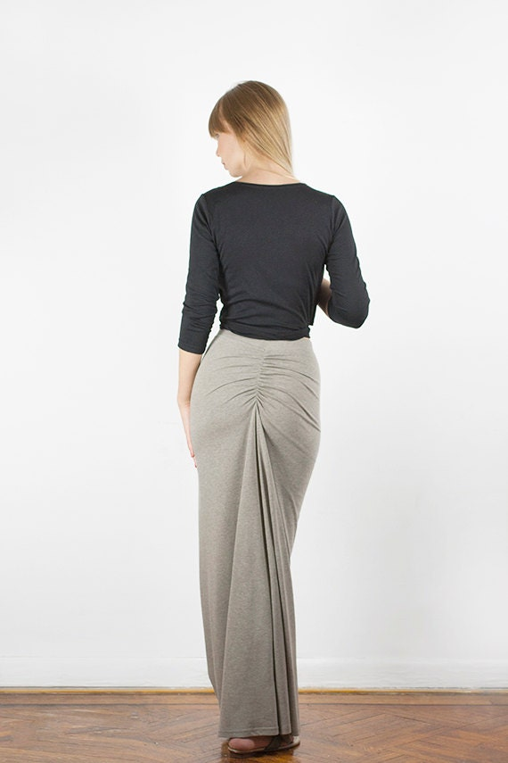 Cotton Jersey Fishtail Maxi Skirt - More Colors Available