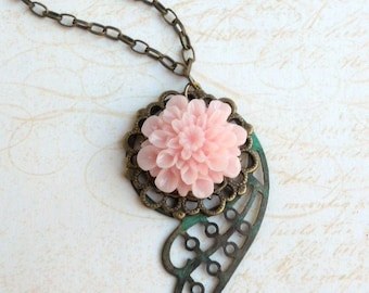 Verdigris Wing Flower Pendant Necklace Shabby Chic Green and Pink