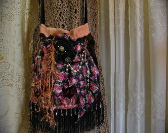 Fringe Gypsy Bag, handmade with charms embellishments, floral on black background fabric bag