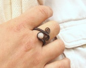 Pink stone ring, rose quartz ring, heart healing gemstone jewelry, birthday gift for women