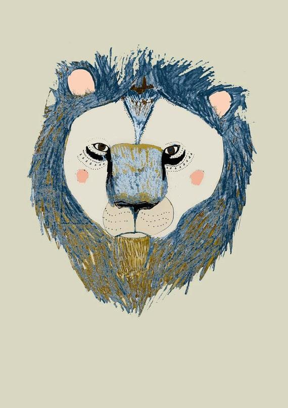 The Lion. Wall decor - kids room art - childrens wall art - lion art print.