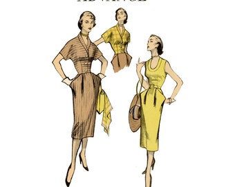 1950s Dress Pattern Bust 32 Advance 5807 Day Evening Sheath Dress with Pencil Skirt and Cropped Bolero Jacket Womens Vintage Sewing Patterns