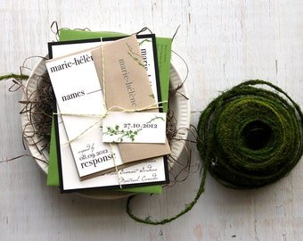 "Wedding Invitations, Green Wedding Invitations, Outdoor Wedding Invitations - ""Modern Garden"" Deposit"