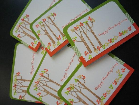Thanksgiving Card Set Autumn Birch Tree 6 Cards
