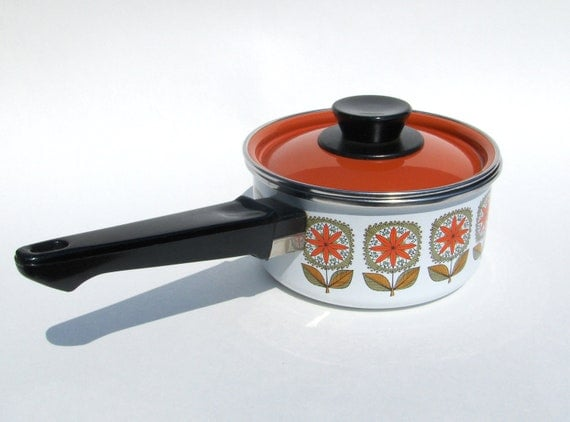 Mod Enamel Saucepan with Lid Orange Flowers Enamelware Cookware Pot Avocado Green and Burnt Orange Retro Floral Graphics Design