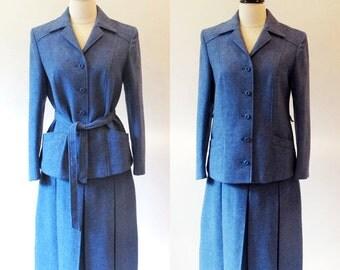 70s Blue Wool Suit, Vintage Womens Suit, Blue 1970s Suit, Vintage Separates