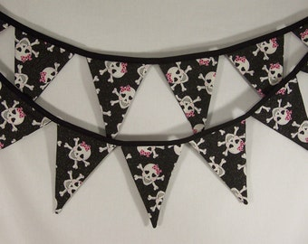Black Skull Fabric Bunting, Princess Party Decor, Punk, Halloween, Day of the Dead - 27 FT