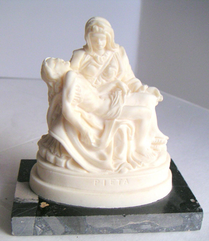 Vintage Pieta Statue White Alabaster On Marble Base