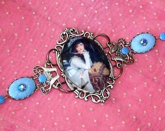 "HANDMADE GLASS Bracelet w/ Vintage Blue Glass & Rhinestones, Lady Cameo, Silver -""Daydreaming The Blues""- OOAK Bohemian Beauty"