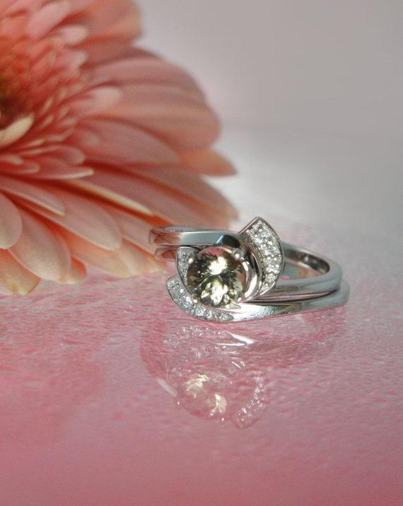Herkimer Diamond Engagement Ring and Band Rare Smokey Shades Sterling Silver
