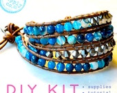 diy bracelet kit supplies & tutorial - blue agate, silver firepolish beads leather wrap bracelet