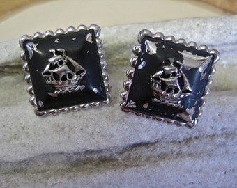 SALE Pirate Ship Cufflinks: Vintage 50s Shabby Chic Tall Ships Silver Tone Square Black Enamel