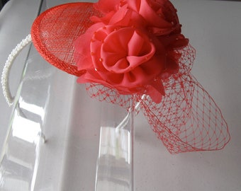 Coral Pink Beaded Chiffon Flower Red Sinamay Fascinator Hat with Veil and Pearl Headband, for weddings, parties, special occasions