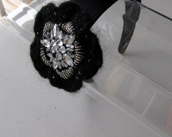Black Woven Crystal Beaded Flower Satin Headband, for weddings, parties, evening, special occasions