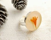 Pressed Flower Ring - preserved Orange Marigold - handmade flower jewelry