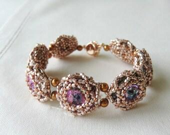 Arm Candy Swarovski Rivoli Bracelet Flower Bracelet Seed Bead Bracelet Bead Woven Bracelet Pink Wedding Jewelry Bridesmaid Bracelet
