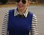 Rhinestone and Studded Scallop Peter Pan Collar Necklace with Jewelry Clasp Closure