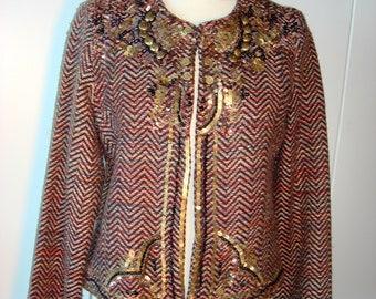 Enrico Coveri vintage beautiful women Tweed,  Embroideries and metal  work, Chanel-like jacket