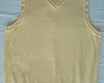 Vintage Men Cotton Yellow sleeveless sweater, 1990s