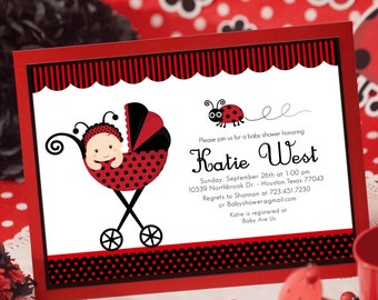 DIY PRINTABLE Invitation Card - Red Lady Bug Baby Shower Invitation - BS815CB1a3