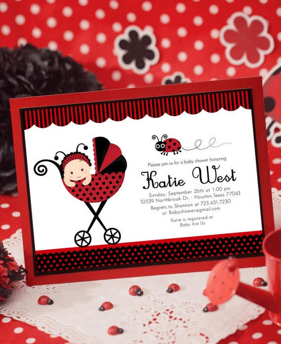 Ladybug baby shower invitations diabetesmangfo diy printable invitation card red lady bug baby shower baby shower solutioingenieria Choice Image
