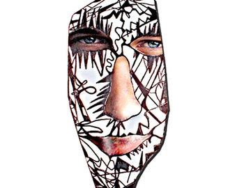 Harlequin, Male Face, Art print (A4) , Black and White, Contemporary art