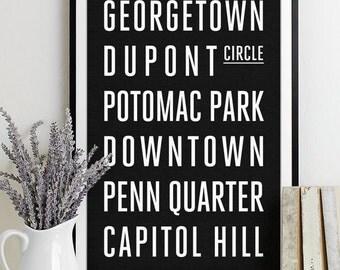 Washington DC Subway Sign - Typography Print - Modern Home Decor - Art Poster