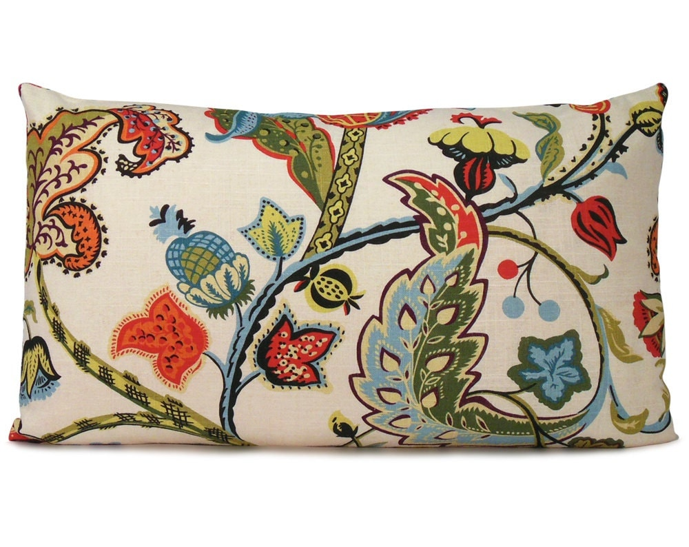 Decorative Lumbar Pillows Green : Lumbar Pillow Cover in a Red Blue & Green Floral Decorative