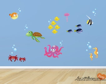 Kids wall Decals, Colorful Fish Fabric Wall Decals, Ocean Wall Decals, Under the Sea Art