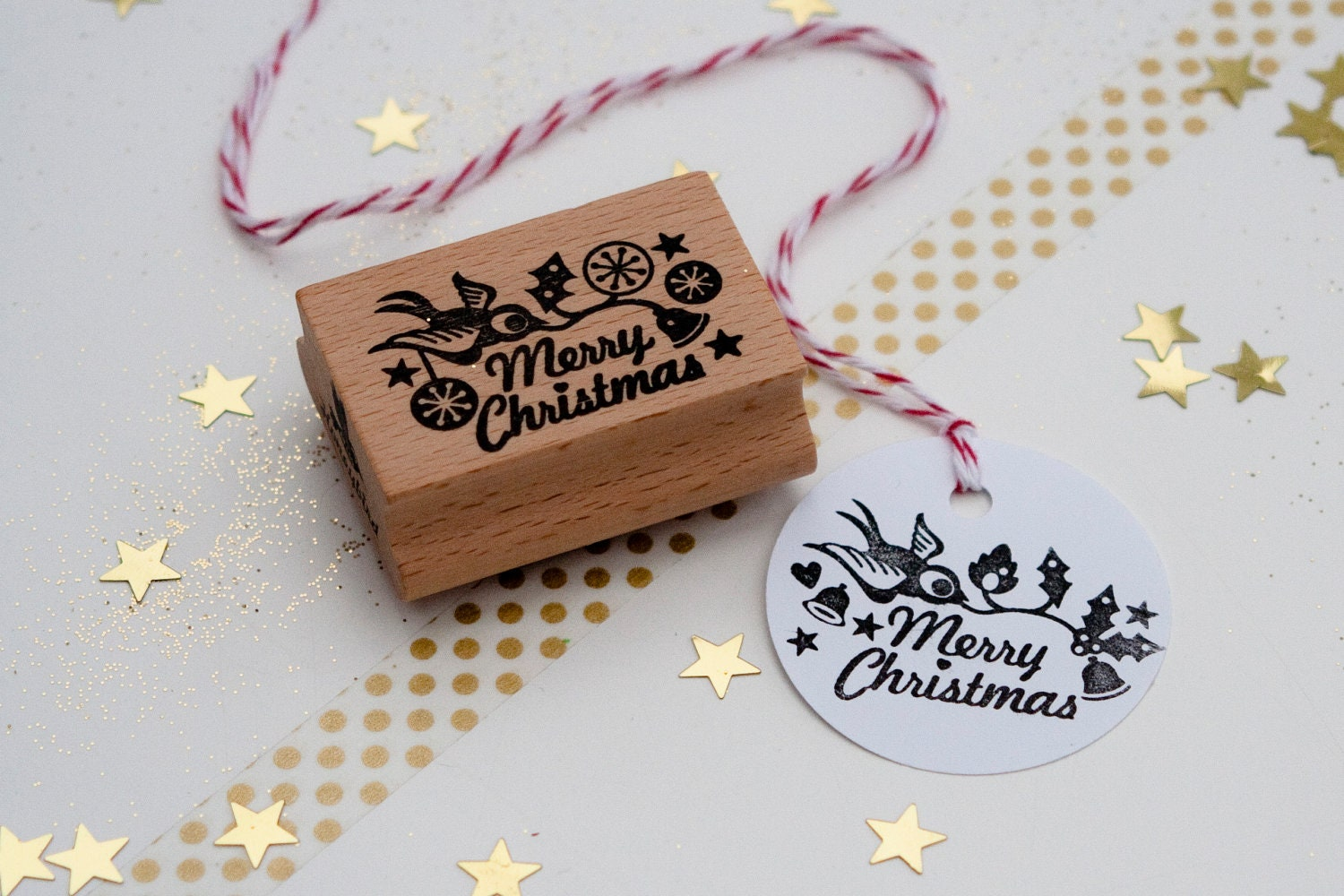 Merry Christmas Rubber Stamp by Miss Honeybird