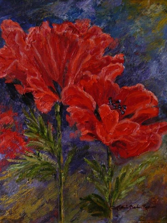 poppies oil painting by haseldencollection on etsy