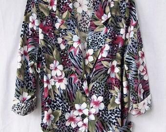 SPRING FLORAL BLAZER Vintage 80s Blazer Hawaiian Print Unlined Hipster Blazer Cotton Tropical Animal Jungle Leopard Print Jacket women large