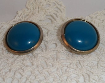 Vintage 50s Deep Teal Blue Button Style Clip Earrings