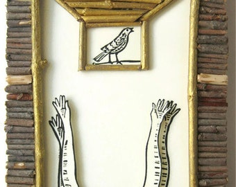 """HANDMADE PRINTMAKING """"Hope is The Thing with Feathers""""  linoleum print collage mounted on wood 7""""x5""""x1"""", home decor"""